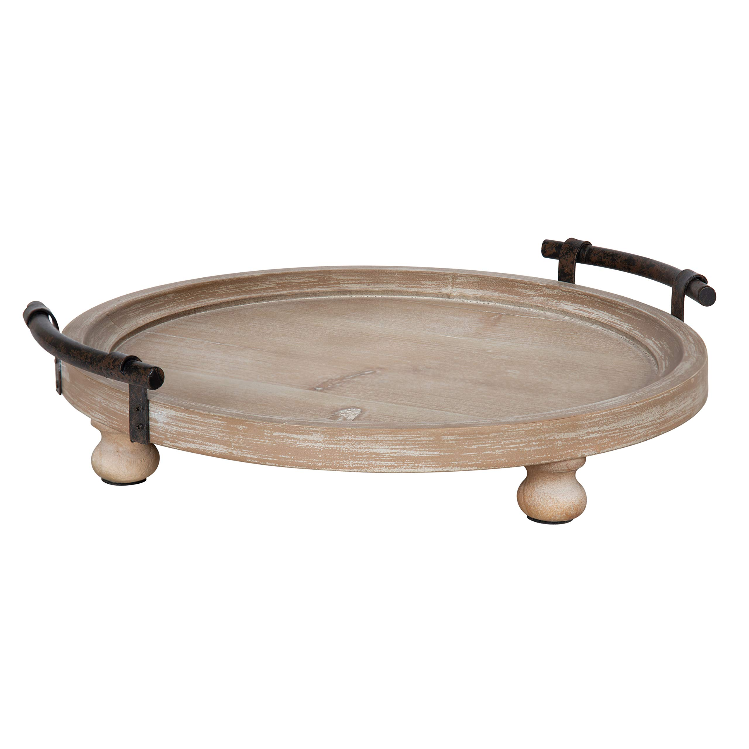 Kate and Laurel Bruillet Round Wooden Footed Tray with Handles, 15-inch Diameter, Rustic Finish by Kate and Laurel