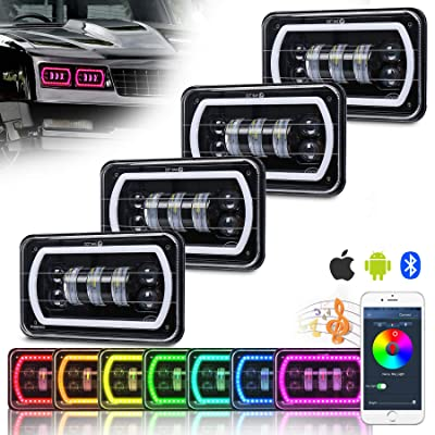 ZJUSDO 4x6 Led Headlights with White RGB Halo Music Mode Seal Beam Replace H4651 H4656 H4666 Rectangular Led Headlight for Truck Peterbilt Kenworth Ford Chevrolet Monte Carlo Oldsmobile: Automotive