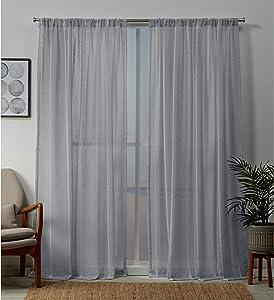 Exclusive Home Curtains Santos Embellished Stripe Sheer Linen Rod Pocket Curtain Panel Pair, 54x84, Melrose Blue