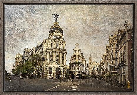 TEXFOTO Cuadro Enmarcado - Calle Gran Vía de Madrid, Calle Alcalá ...