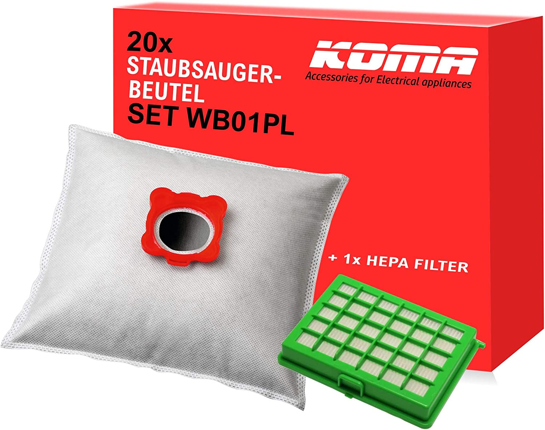 Koma Advantageous - Juego de 20 bolsas para aspiradora Rowenta Compacteo, City Space, Mini Space, 1 filtro Hepa, soporte de plástico: Amazon.es: Hogar