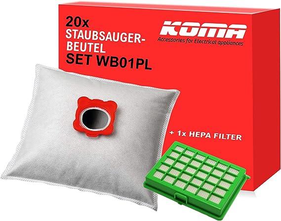 Koma Advantageous - Juego de 20 bolsas para aspiradora Rowenta Compacteo, City Space, Mini Space, 1 filtro HEPA y soporte de plástico: Amazon.es: Hogar