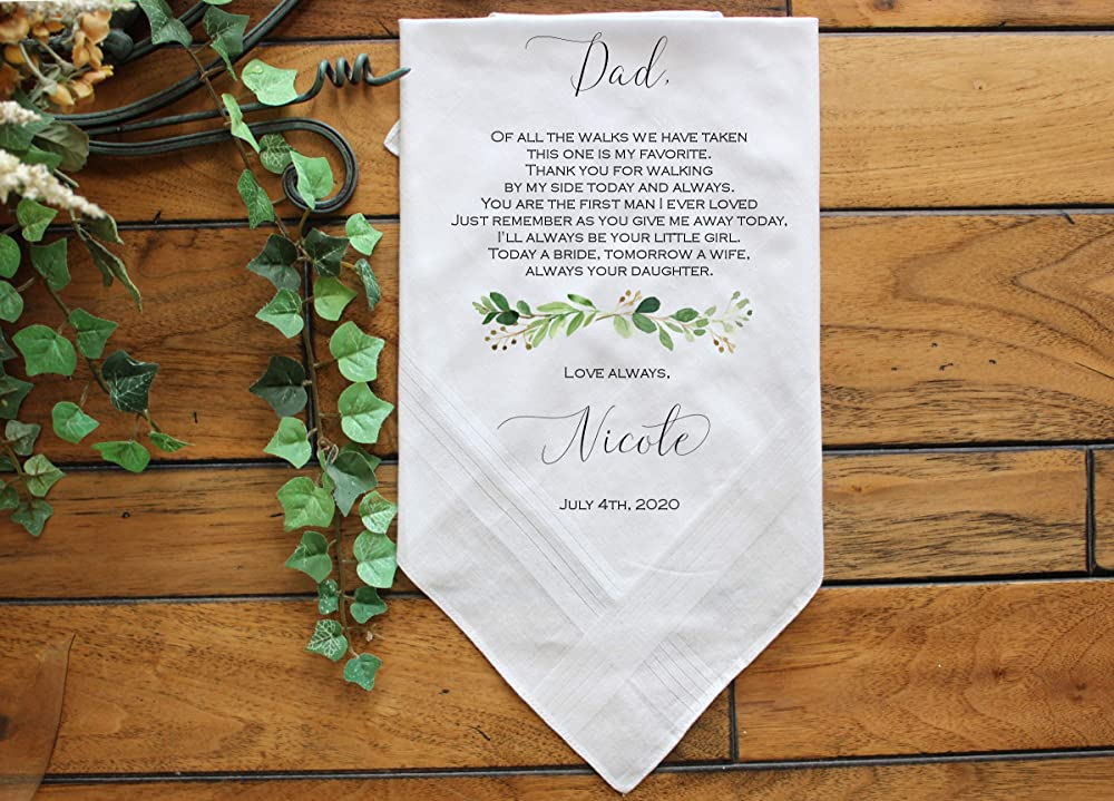Daddy and me 100/% Cotton Custom Personalized Message Script Pocket Square Toddler Boy Dad size Wedding Groom Ring bearer Gift For Him