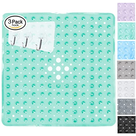 Yimobra Non Slip Bath Mats With Drain Holes For Shower Stalls Feet 21x21 Inch Clear