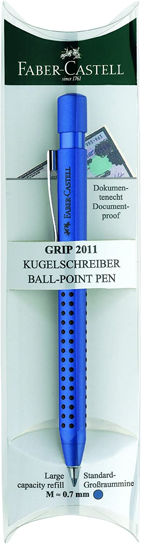 FABER-CASTELL Druckkugelschreiber GRIP 2011 a sfera nero blau-metallic