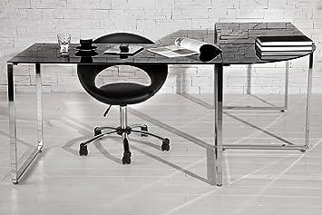 Bureau d angle design noir en verre et métal chromé cm
