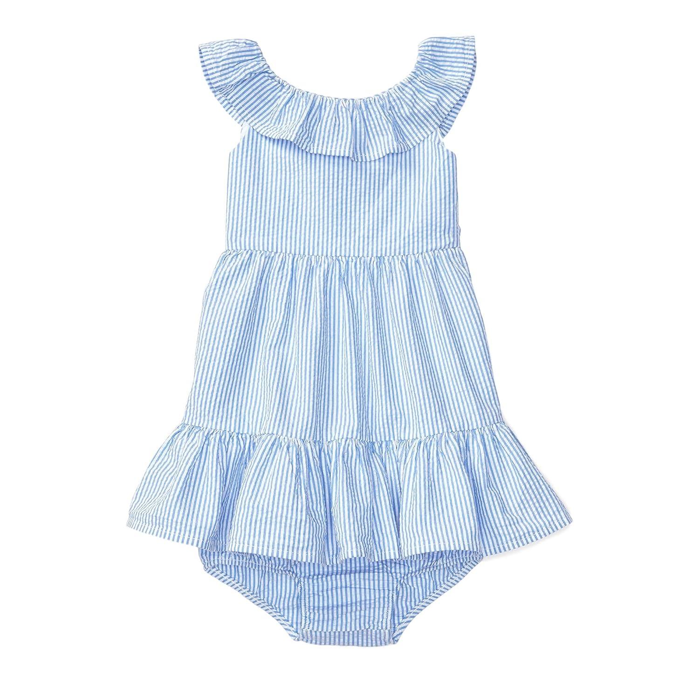 0df4eabe61323 Amazon.com  Ralph Lauren Baby Girls Seersucker Dress   Bloomer Set  Blue White  Clothing