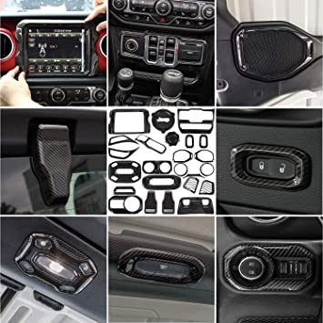 Amazon Com Jecar Interior Decoration Trim Kit Jl Accessories For 2018 2019 Jeep Wrangler Jl Jlu Unlimited Rubicon Carbon Fiber 8 4 Inch 24pcs Automotive