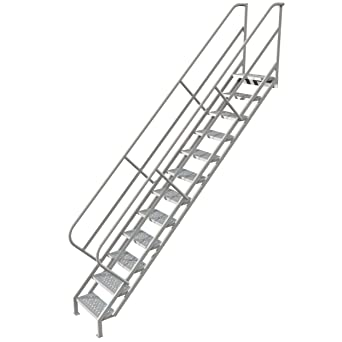 Merveilleux Tri Arc WISS112246 12 Step Industrial Access Stairway Ladder With  Perforated Tread