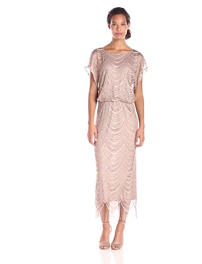 1920s Downton Abbey Dresses S.L. Fashions Womens Metallic Crochet Dress $79.00 AT vintagedancer.com