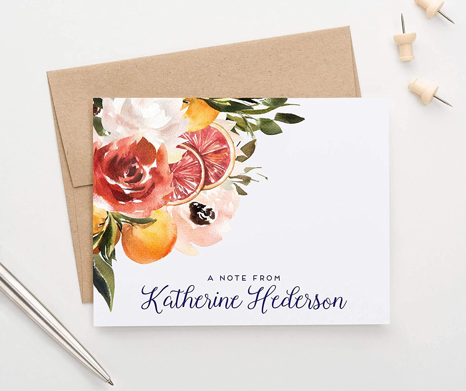 AUTUMN GARDEN Watercolor Floral Wreath MONOGRAM set of 8 folded cards personalized stationery set fall wreath cards stationary