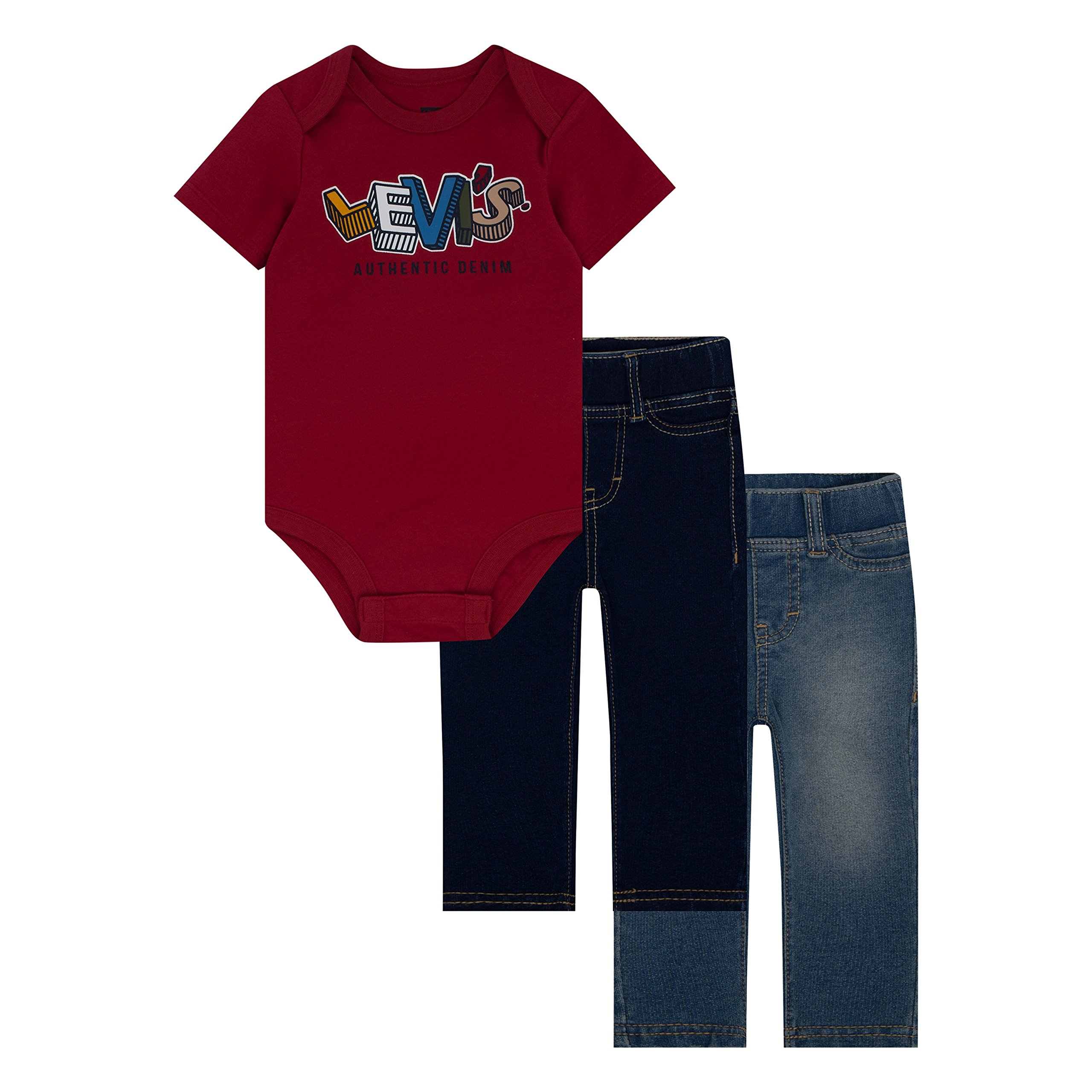 Levi's Baby Boys' First 3-Piece Bodysuit and Leggings Gift Set, Chili Pepper, 12M by Levi's