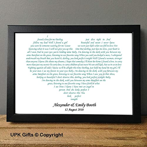 UPK Gifts Personalised Ed Sheeran Perfect Song Lyric Wedding ...