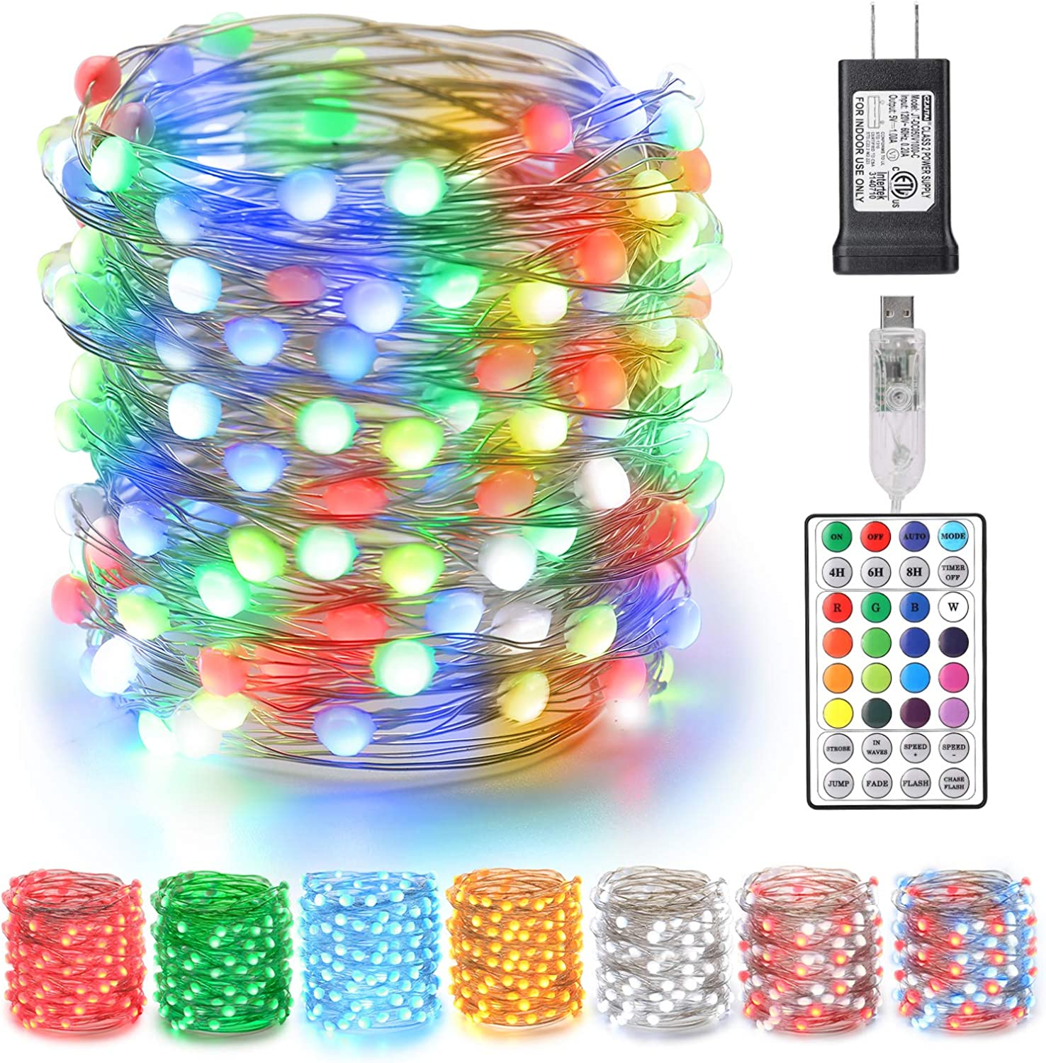 BrizLabs Color Changing Christmas Fairy Lights, 66ft 200 LED Upgraded Fairy String Lights with Larger LED, Unique Dual/Triple Colors USB Christmas Light with Remote & Adapter for Craft Bedroom Wedding
