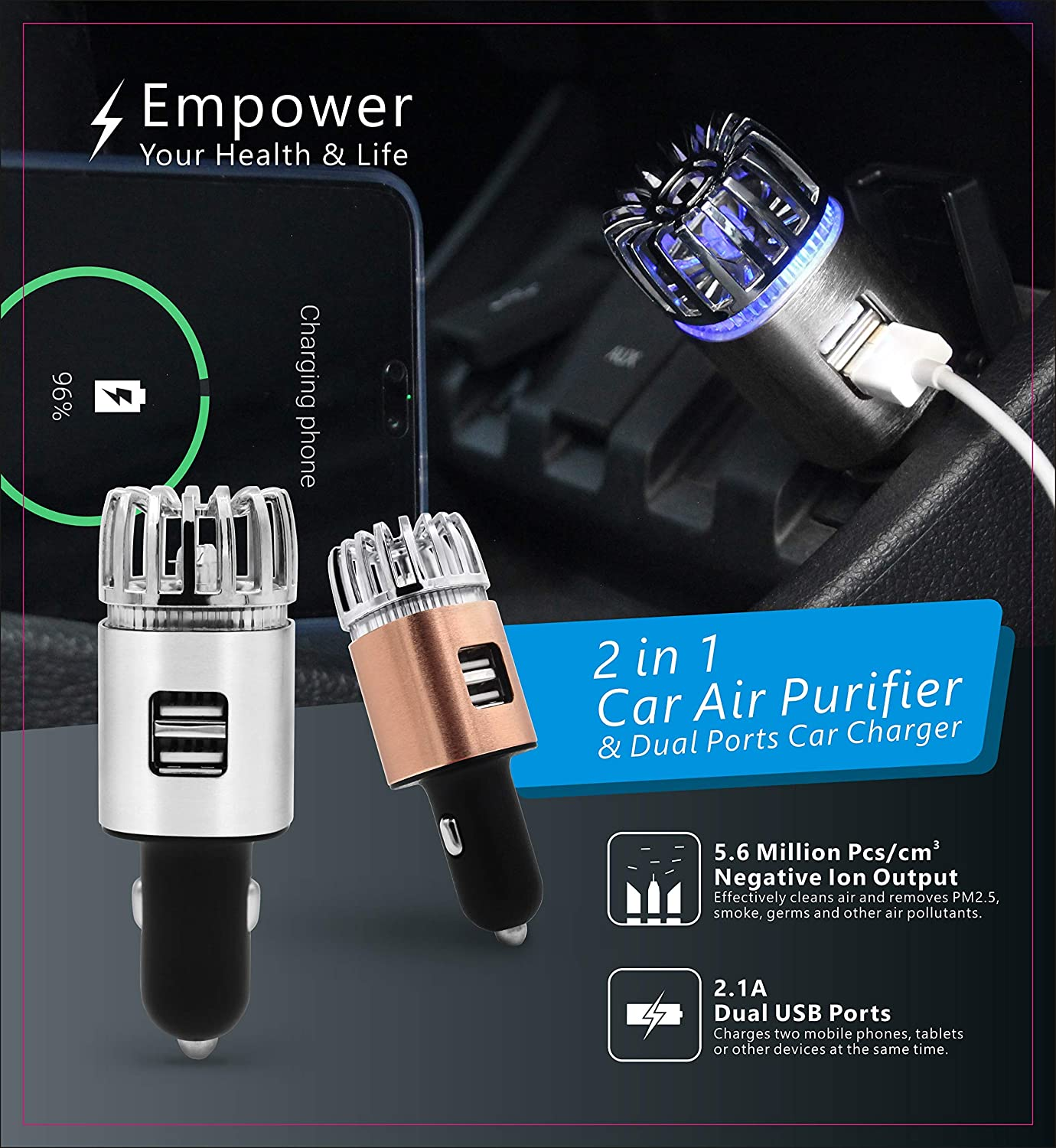 Car Air Purifier with Dual USB