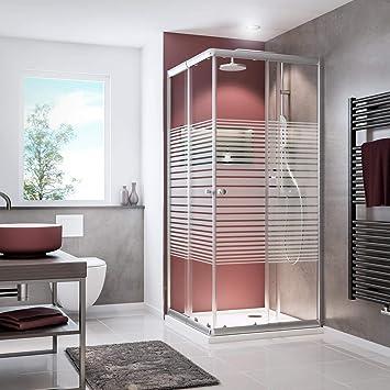 Schulte 4061554001277 Sunny - Mampara de ducha con puertas correderas, cristal, diseño de rayas, color plateado: Amazon.es: Bricolaje y herramientas