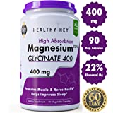 HealthyHey Nutrition High Absorption Magnesium Glycinate, 400mg 90 Vegetable Capsules