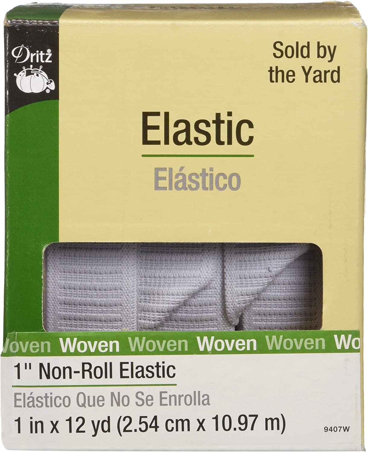 1-Inch by 12-Yard Black Dritz 9407B Non-Roll Woven Elastic