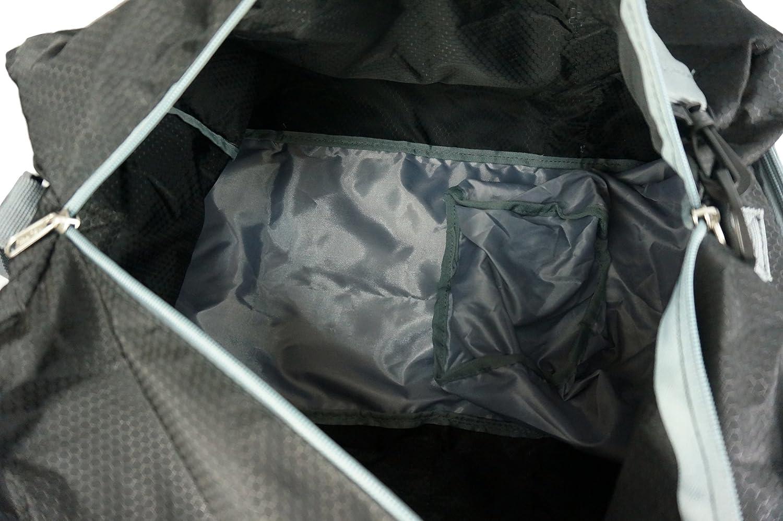 K-Cliffs Light Foldable Travel Duffel Medium Black//Grey Heavy Duty Ripstop Fabric