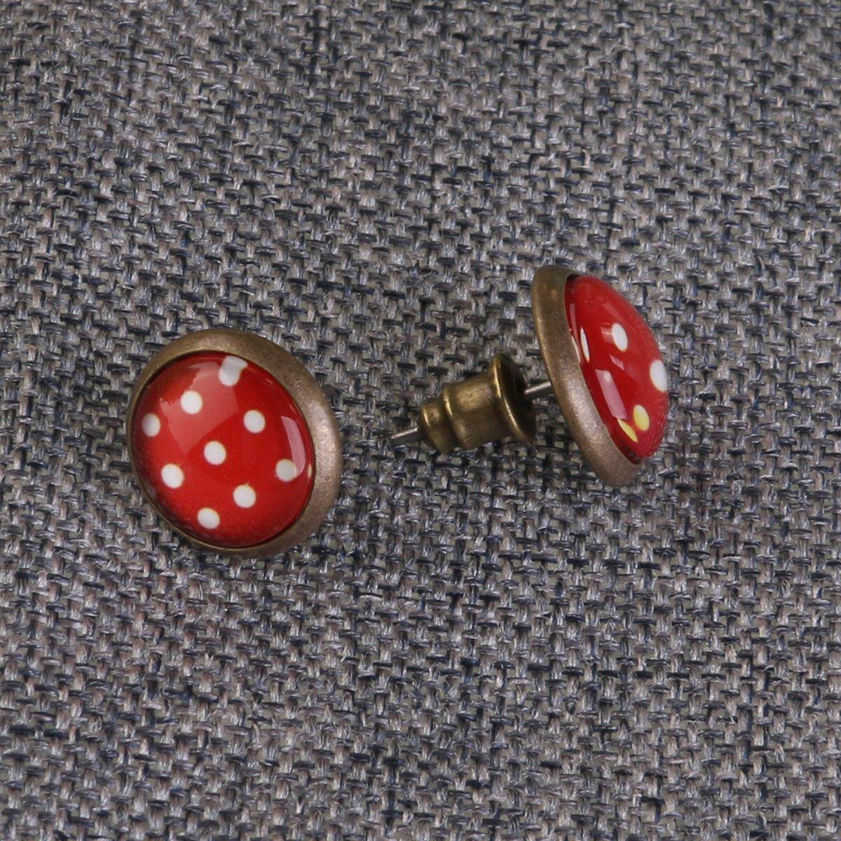 Tinksky Cute Earring Studs Dottong Mushroom Circle Stud