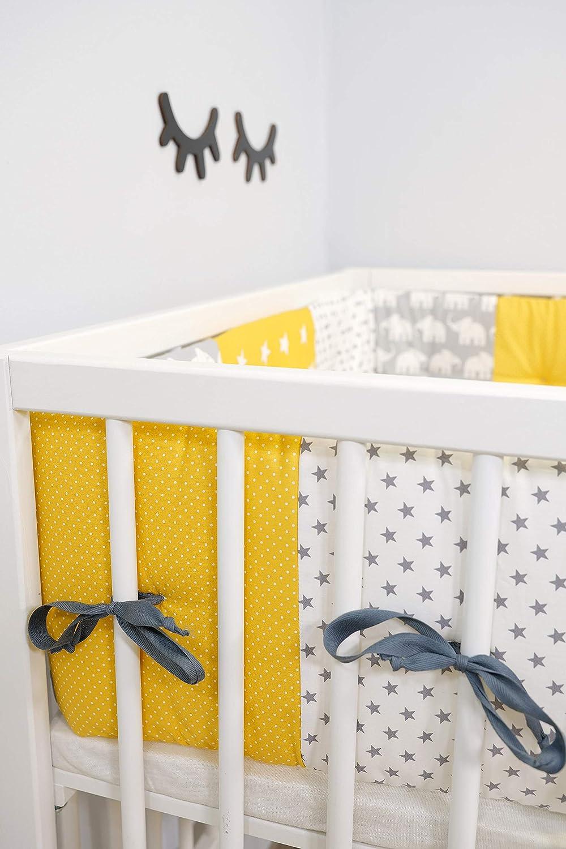 VERDE ULLENBOOM Paracolpi per culla neonato e lettino bambino in cotone imbottito ELEFANTI BLU
