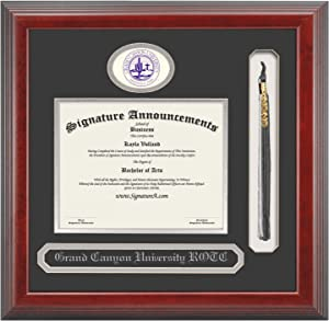 "Signature Announcements Grand-Canyon-University-ROTC Undergraduate, Professional/Doctor Sculpted Foil Seal, Name & Tassel Graduation Diploma Frame, 16"" x 16"", Cherry"