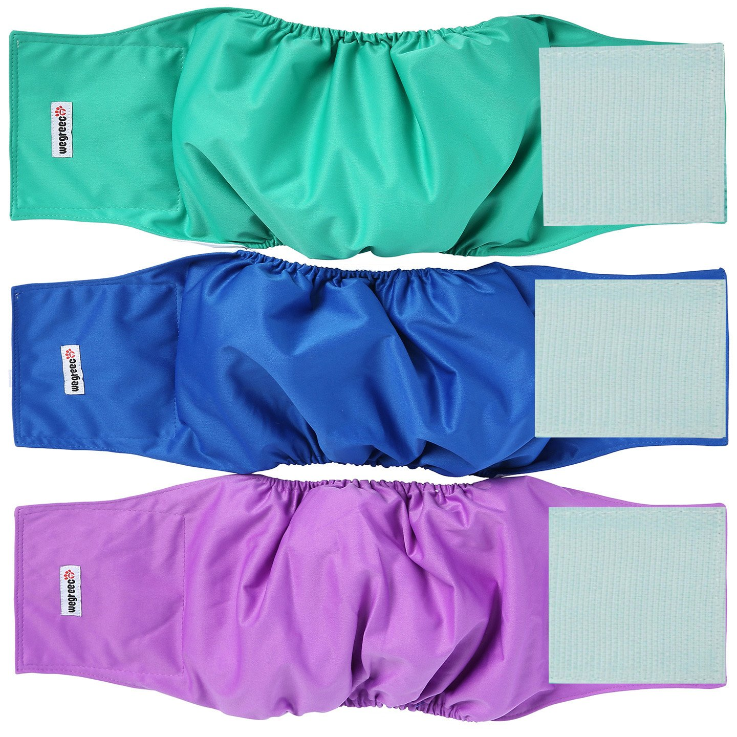 Wegreeco Washable Male Dog Belly Wrap - Pack of 3 - (Blue,Green,Purple,XX-Small)