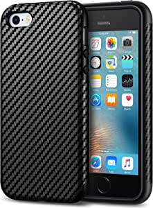 Tasikar Compatible with iPhone SE Case (2016) / iPhone 5S Case Good Protection Carbon Fiber Leather Design Cover Case for iPhone 5/5S/SE (Black)
