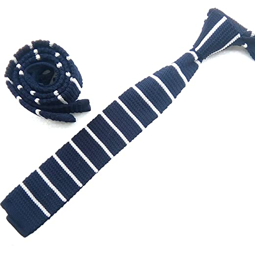 Men's Steampunk Clothing, Costumes, Fashion Mens Knit Ties Skinny Striped Woven Square End Leisure Necktie in Variant Colors $4.99 AT vintagedancer.com