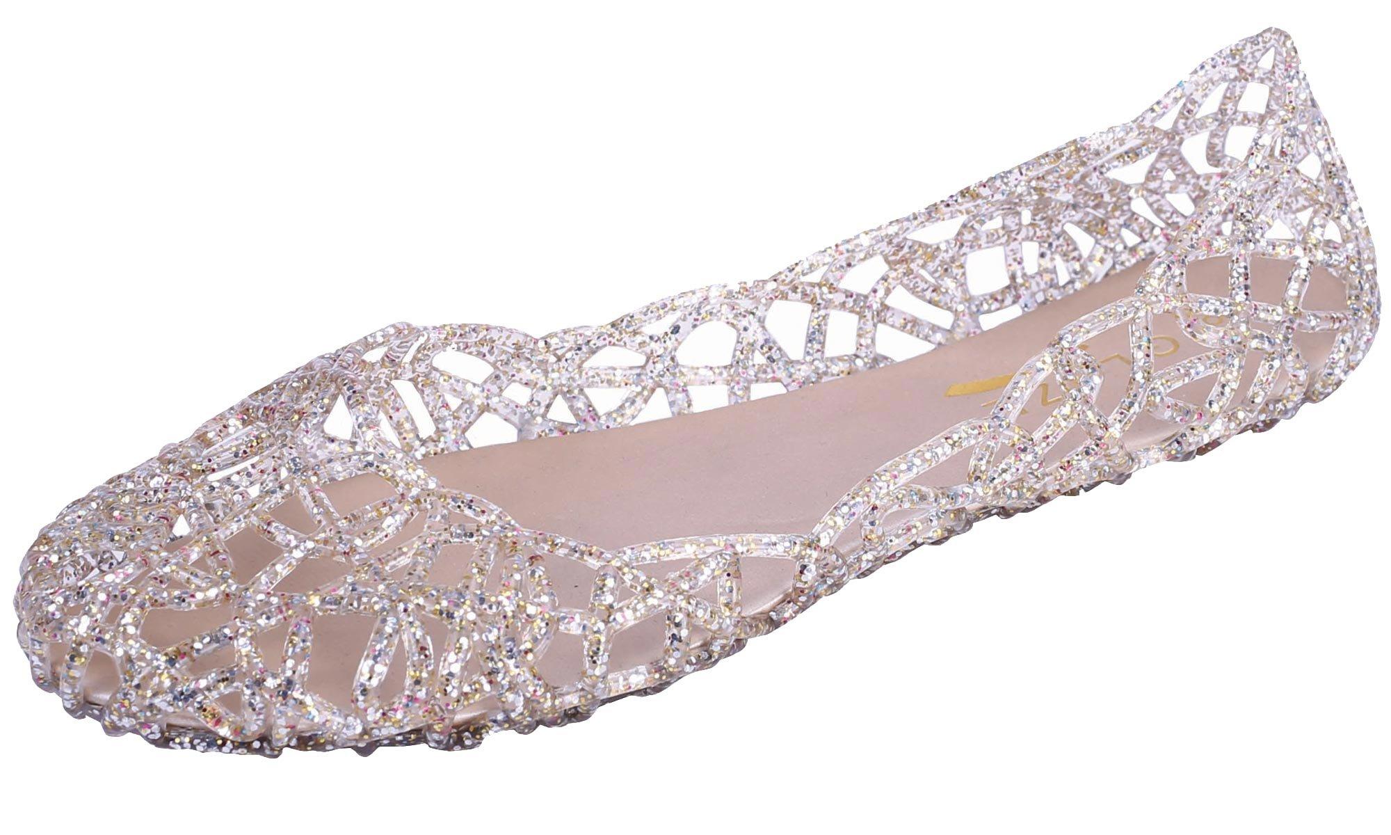 Glaze Women's Cutout Glitter Jelly Round Toe Ballet Flats (10 B(M) US, Clear/Multi)