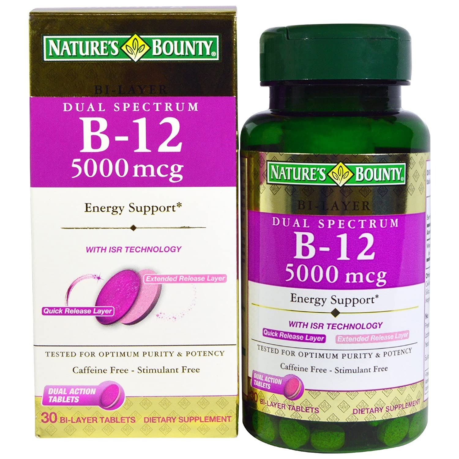 Nature s Bounty, Dual Spectrum B-12, 5000 mcg, 30 Bi-Layer Tablets – 2pc