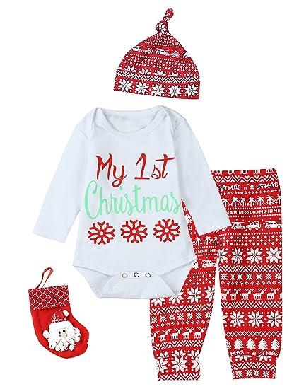 Amazon Com Paddy Field Baby Girls Boys My 1st Christmas 4pcs Outfit