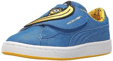 624e27a089f PUMA Baby Minions Basket Wrap Statement Leather Kids Sneaker Lapis Blue  Yellow
