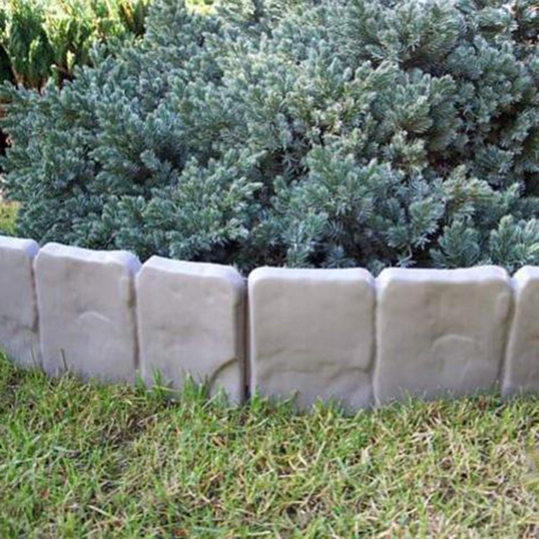 2 5 Meter Garten Palisaden Beetumrandung grau Stein Beeteinfassung