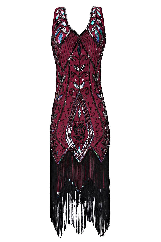Wine Metme Women's 1920s Vintage Flapper Fringe Beaded Great Gatsby Party Dress
