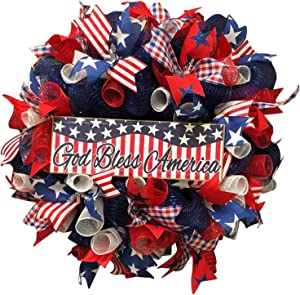 Patriotic Independence Day Wreaths, Front Door Wreath 4th of July Decorations, Red White Blue Burlap Bow Wreath Bow Holiday Bow for Memorial Day, Handcrafted Hanging Wreaths for Wall Decor Home Decor