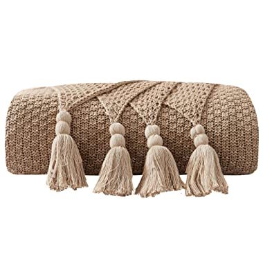 DOMIKING 100% Cotton Knitted Throws and Blankets for Sofa Couch Bed Multiple Used Special Tassels Blanket Lightweight Khaki Throw Four-Season Use,51 x67