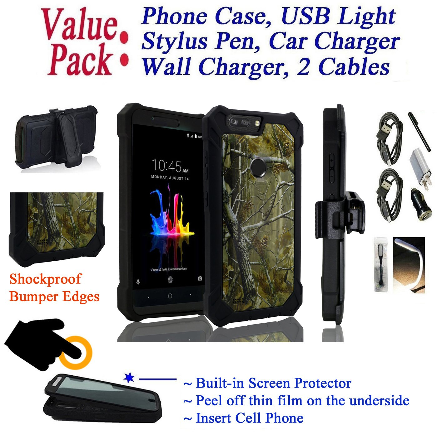 Value Pack Cables + for 6'' ZTE BLADE Z MAX bladeZmax case Phone Case 360° Cover Screen Protector Clip Crystal Holster Kick Stand Armor Shock Bumper (Camo)