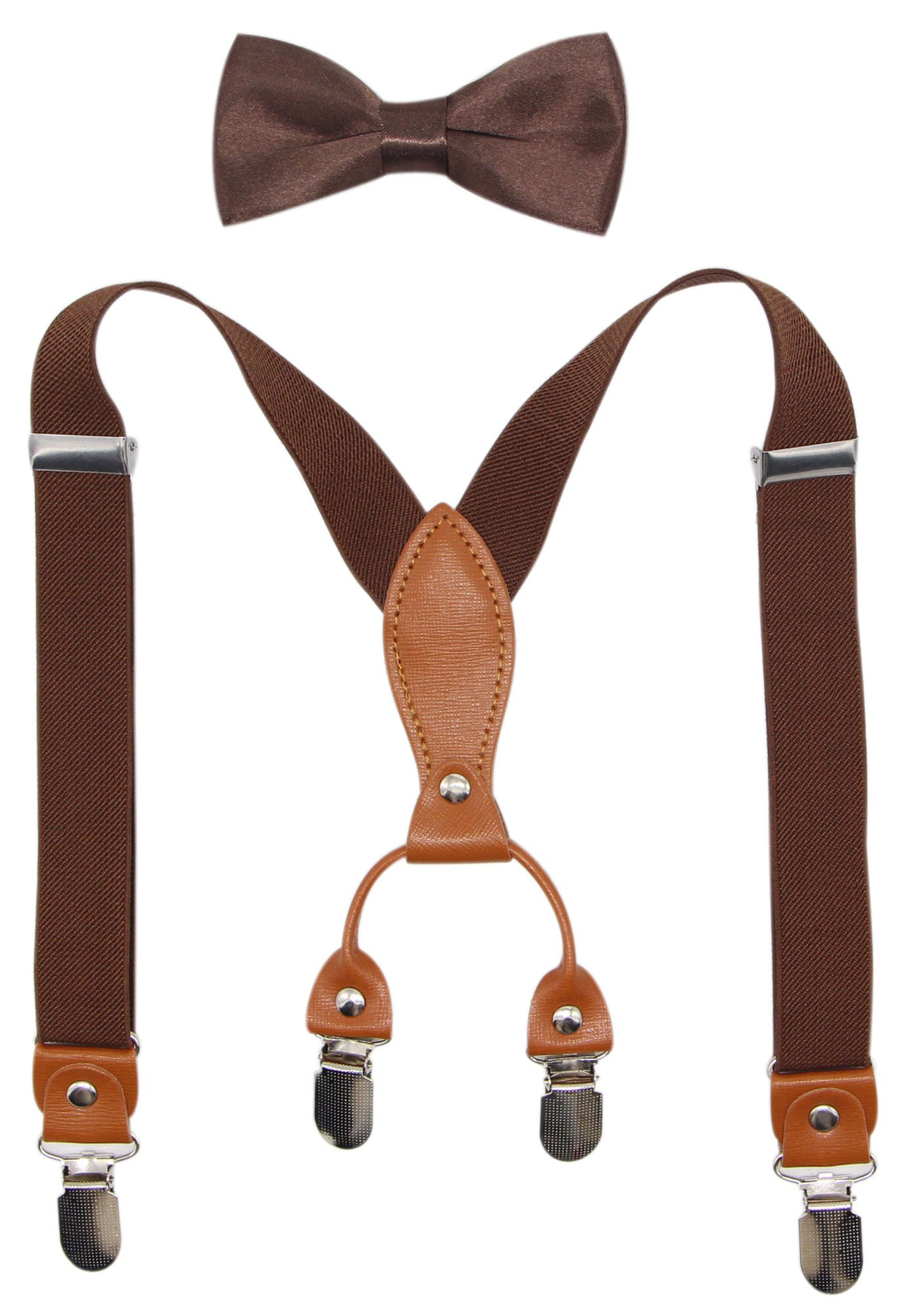 Suspenders & Bowtie Set for Kids and Baby - Adjustable Elastic X-Band Strong Clips Braces (Coffee)