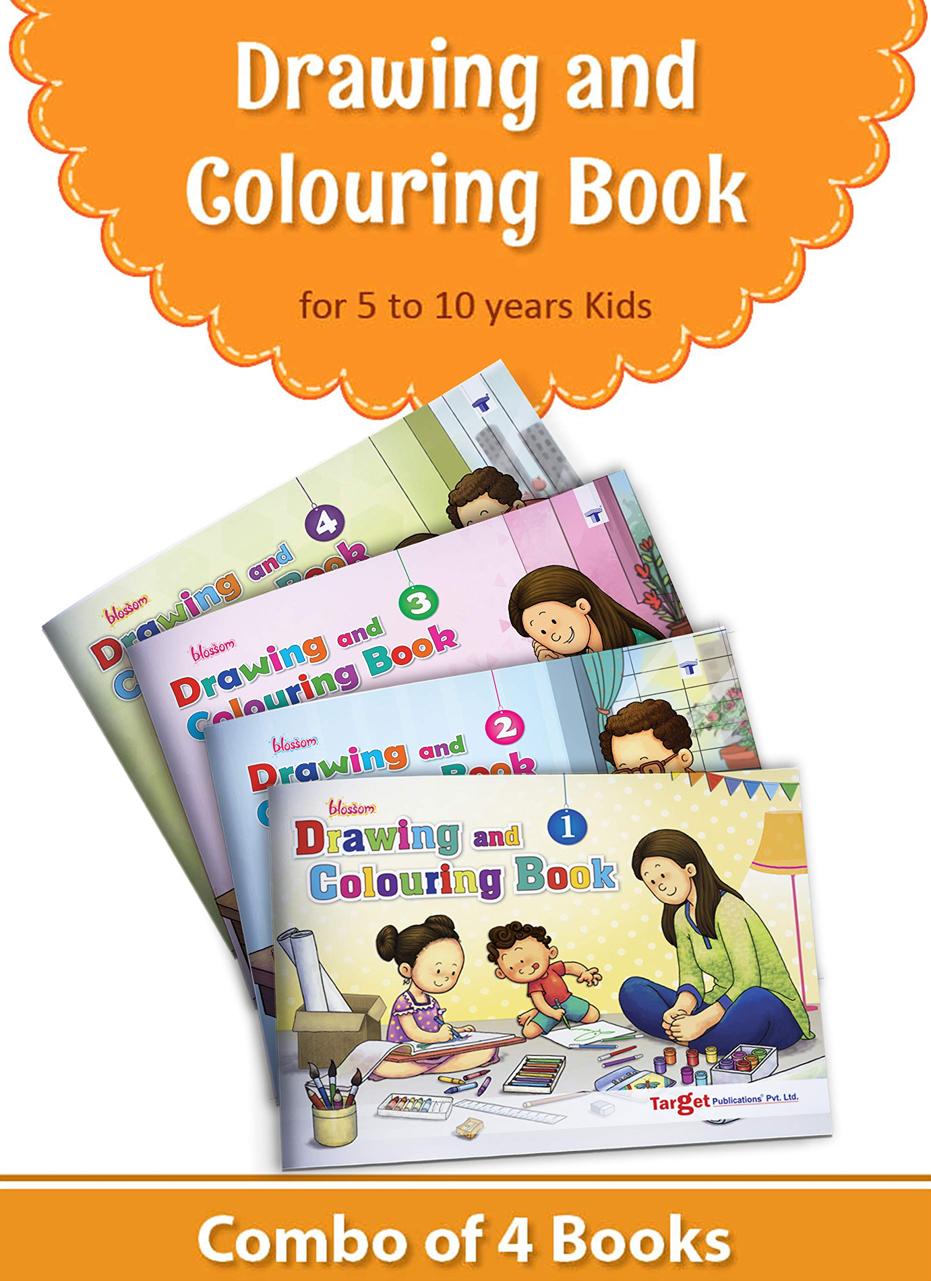 buy blossom drawing and colouring practice books for kids 5 to 10 years learn how to draw easily with step by step instructions pencil drawing techniques for children colouring practice books for kids