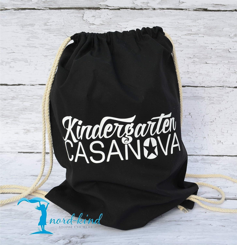 Sportbeutel Kindergarten Casanova Turnbeutel mit Spruch/Gymbag / Jutebeutel/Rucksack