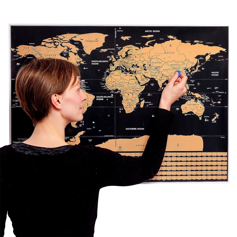 MyGadget Carte du Monde à gratter pour Globe Trotter - Poster Pays & Drapeaux 77 x 56 cm - Découverte & Voyages - ENGLISH Scratch Off World Map DBSW Trading GmbH M06828