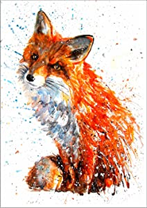 """7Dots Art. Wild Animals. Watercolor Art Print, Poster 8""""x12"""" (A4) on Fine Art Thick Watercolor Paper for Living Room, Bedroom, Bathroom, Kid's Room. Wall Art Decor with Animals. (Red Fox)"""