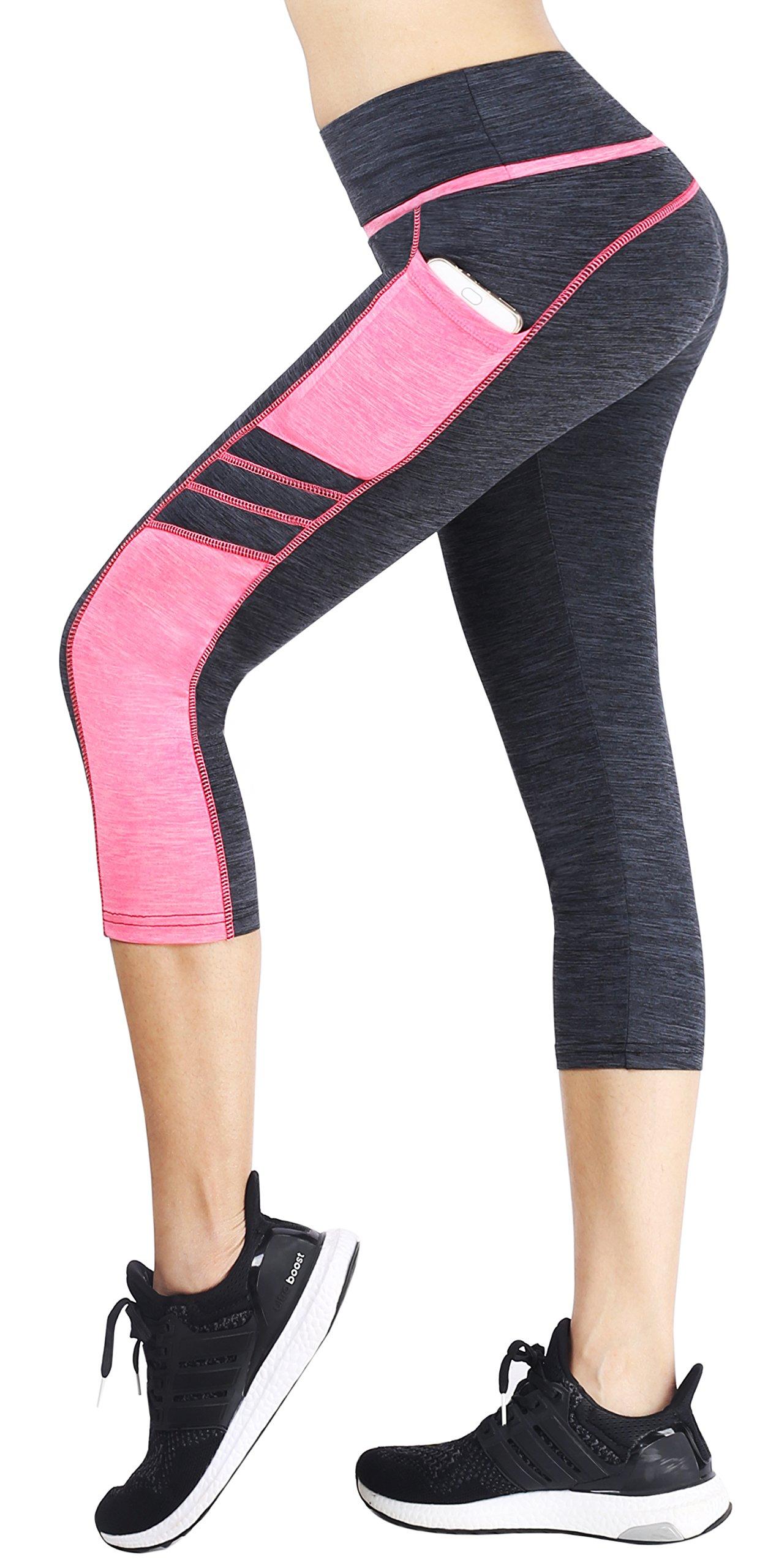 Sugar Pocket Women's Capris Tights Workout Running Leggings Yoga Pants XL (Grey/Pink)
