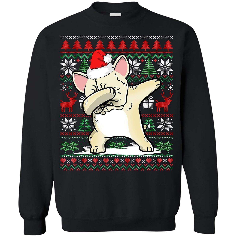 Teeland Funny Ugly Christmas Sweatshirt Bulldog Dabbing Cream French Hat Santa Reindeer