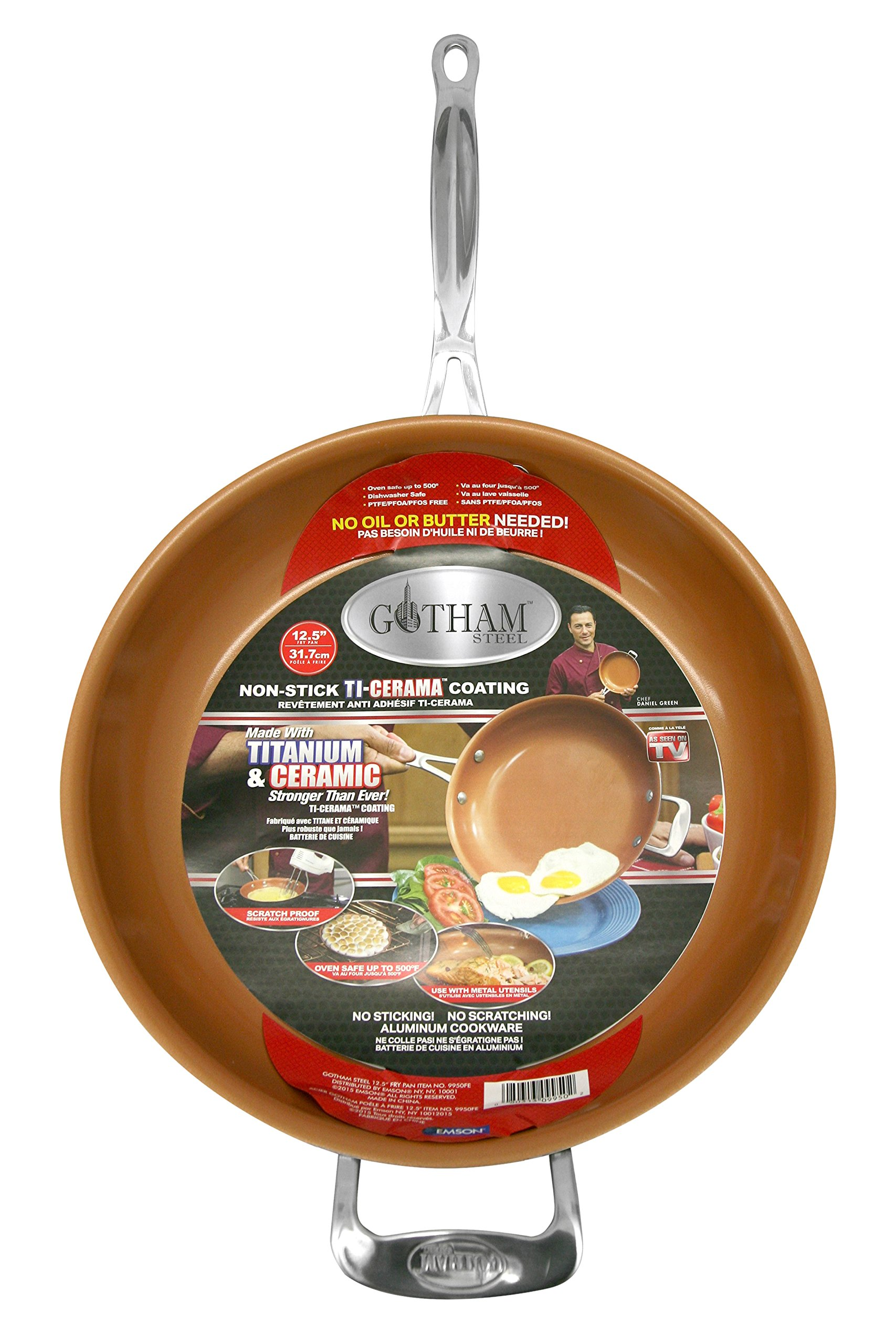 Gotham Steel 9950 Non-Stick Titanium Frying Pan, 12.5'', Brown