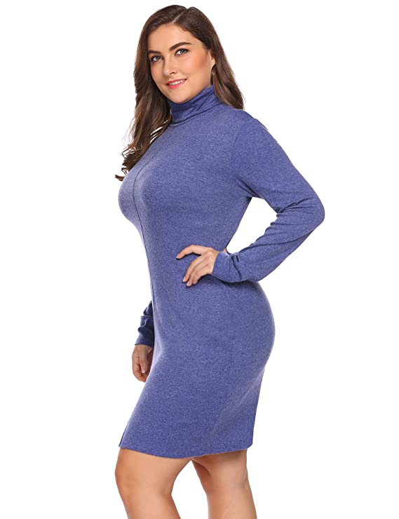 e258f6434e IN VOLAND Women s Plus Size Turtleneck Long Sleeve Knit Elasticity Bodycon  Slim Fit Sweater Dress at Amazon Women s Clothing store