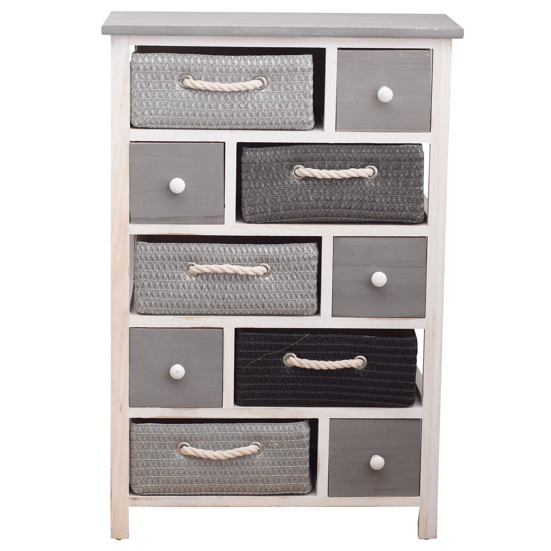 Rebecca Mobili Chest of Drawers Dresser 5 Wood Drawers 5 Wicker Drawers White Grey Urban Sitting Room Hallway - 83 x 56 x 27 cm (H x W x D) - Art. RE4324