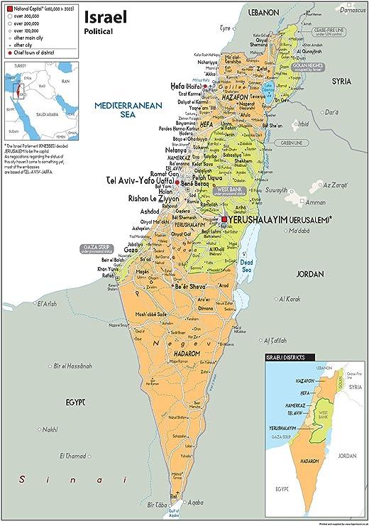 Cartina Fisica Dell Israele.Cartina Politica Dello Stato Di Israele Da Parete Poster Laminato In Carta Ga A1 Size 59 4 X 84 1 Cm Clear Amazon It Cancelleria E Prodotti Per Ufficio