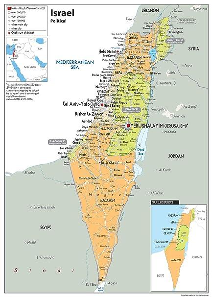 Cartina Israele.Cartina Politica Dello Stato Di Israele Da Parete Poster